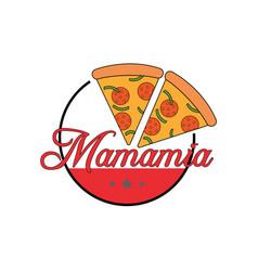 pizza restaurant logo design vector image