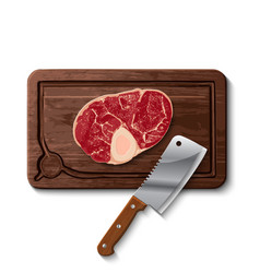 Raw beef meat and butcher meat knife vector