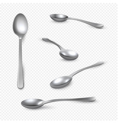 realistic metal spoon 3d silver teaspoon isolated vector image