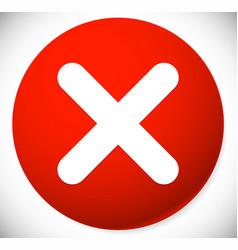 red cross x shape x letter icon remove delete vector image