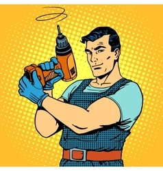 Repair work with a drill vector