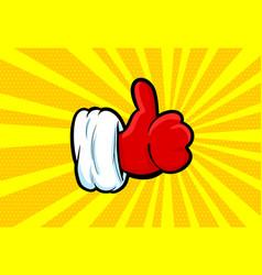 santa clous hand in glove pop art in retro style vector image