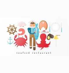 seafood restaurant icon set vector image