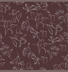 seamless pattern with peony flower in vector image