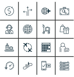 Set 16 traveling icons includes shopping vector