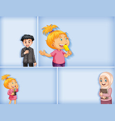 set different kid characters on blue color vector image