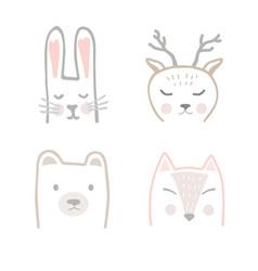 Set forest animals in hand drawn scandinavian vector