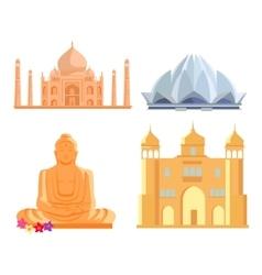 Set Indian Architectural Landmarks vector