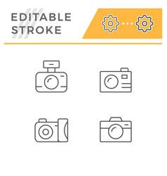 set line outline icons camera vector image