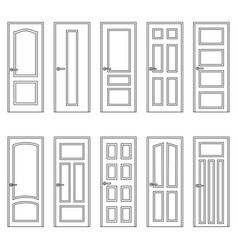 Set of contours of doors vector