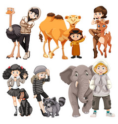 Set of people and animal vector