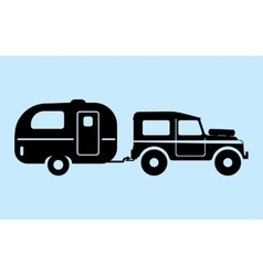 Silhouette camping car vector