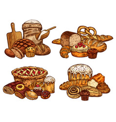sketch bread and bakery food vector image