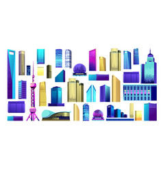 skyscraper building set vector image