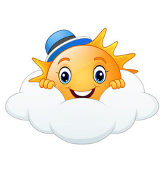 smiling sun cartoon wearing blue cap with cloud vector image