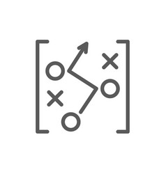 Soccer game strategy scheme drawing line icon vector