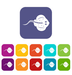 Stingray fish icons set flat vector