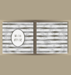 Stripe silver foil and marble cover set vector