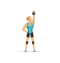 Strong man lifting weight above his head muscular vector