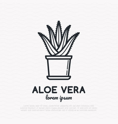 succulent aloe vera in pot thin line icon vector image