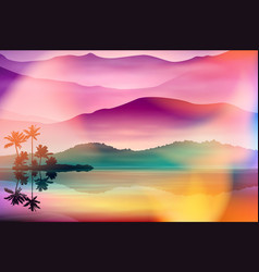 Summer background with sea and palm trees vector