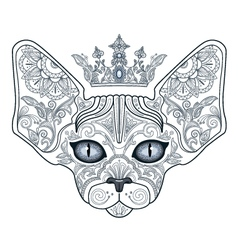 Tattoo head sphinx cat with floral ornament and cr vector