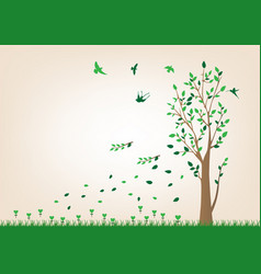 the tree has fallen wind birds fly to feel vector image