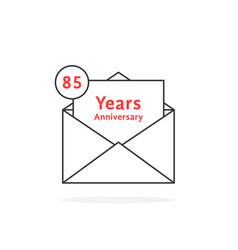 Thin line 85 years anniversary logo like open vector