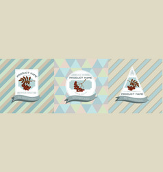three colored labels with rowan vector image