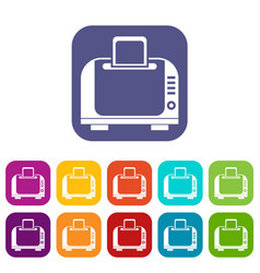 Toaster icons set vector