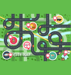 top view city road map with destination points vector image