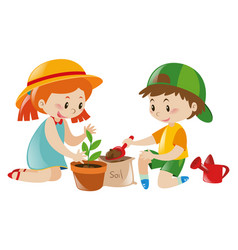 two kids playing tree in pot vector image