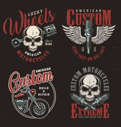 vintage motorcycle repair service logos vector image