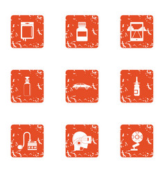 Virtual cleaning icons set grunge style vector