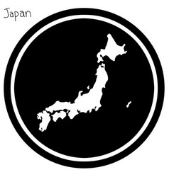 white map of japan on black circle vector image
