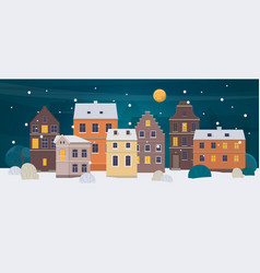 winter city landscape old town with different vector image