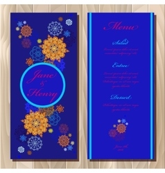 Winter snowflakes design wedding menu card vector
