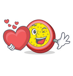 with heart passion fruit mascot cartoon vector image