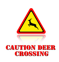yellow warning caution deer crossing icon backgrou vector image
