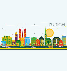 Zurich skyline with color buildings and blue sky vector