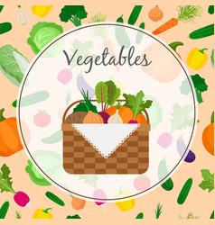 a basket full of fresh vegetables vector image