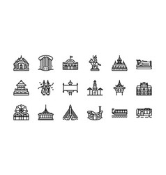 bangkok symbols and landmarks icon set 2 vector image