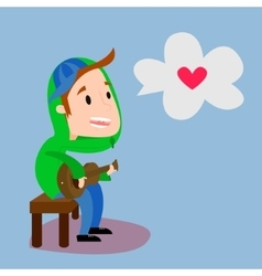 Boy playing guitar flat vector image vector image