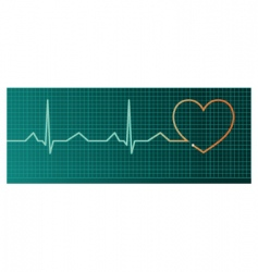 heart pulse monitor red heart vector image vector image