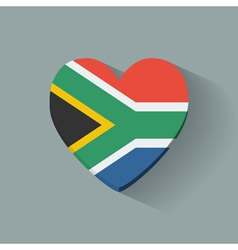 Heart-shaped icon with flag of South Africa vector image
