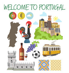 portugal travel tourism welcome poster template vector image vector image