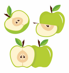 set green apples with leaves vector image vector image