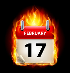 seventeenth february in calendar burning icon on vector image vector image