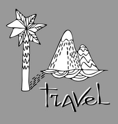 black and white design with a palm tree and a vector image