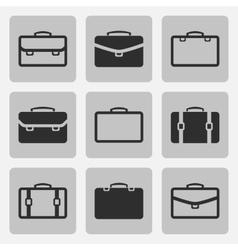 briefcase black icons set vector image vector image